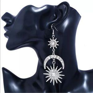 Jewelry - Moon Star Dangle Drop Rhinestone Crystal Earrings